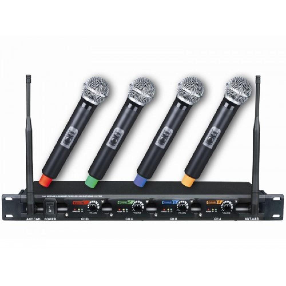 סט 4 מיקרופונים UHF