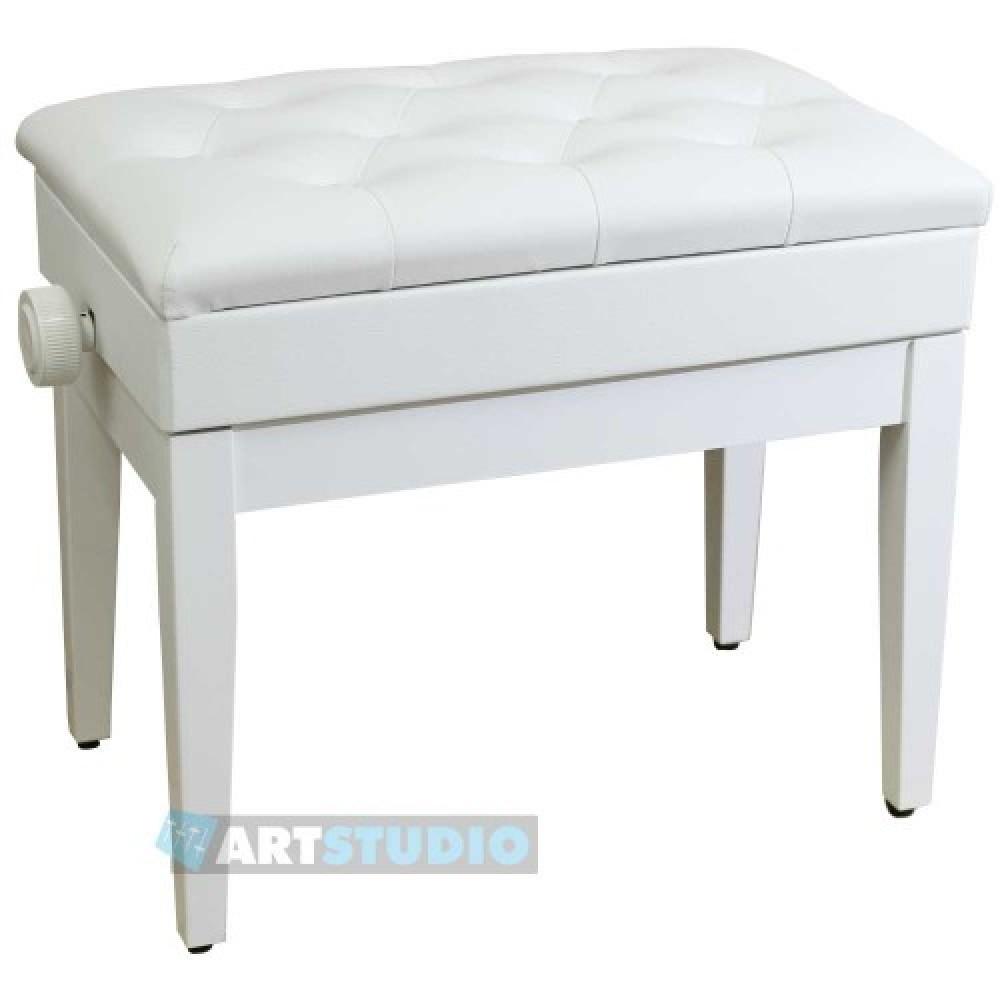 כיסא לפסנתר לבן עם תא אחסון