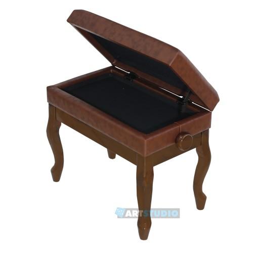 כסא פסנתר חום מבריק עם תא אחסון